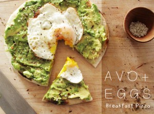 Avocado and Eggs breakfast pizza