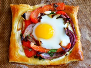 red pepper and baked egg gelettes